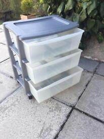 2 sets of Plastic drawers on wheels £10 each