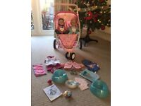 Baby Born Twin Pushchair, Girl and Boy Baby Born dolls with clothes and accessories