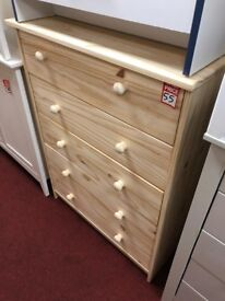 5 drawer bare wood chest
