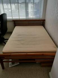 Solid pine double bed and double mattress. NEED HONE ASAP.. OPEN TO OFFERS!!