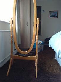full length pine framed mirror.