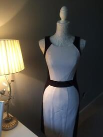 Smart Black & White Fitted Dress