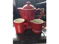 Vintage Nescafé coffee pot matching jug , mug