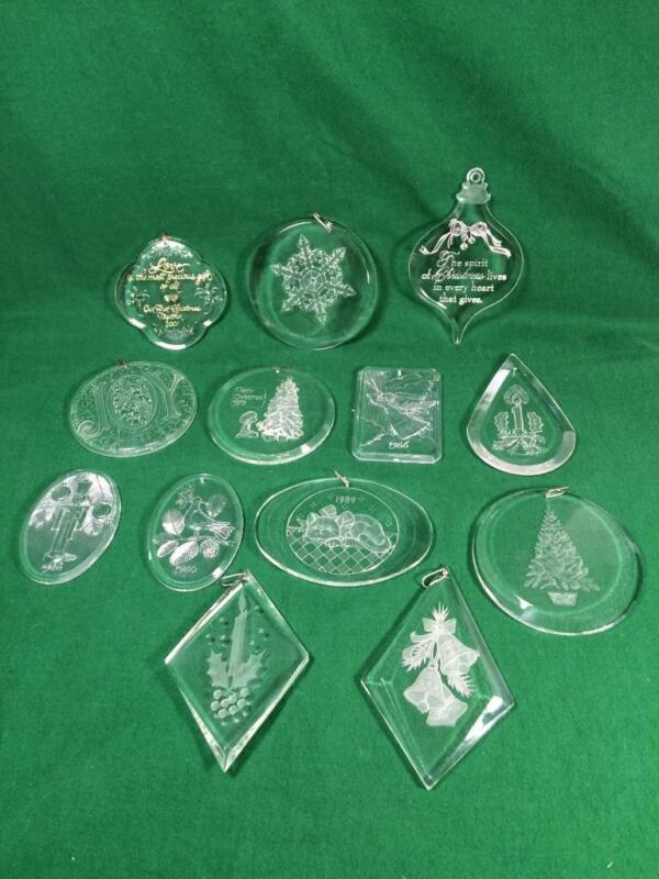 LOT OF 13 ETCHED CLEAR ACRYLIC PLASTIC  CHRISTMAS ORNAMENTS HALLMARK & PROMOTION