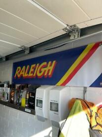 Vintage Raleigh bmx burner man cave , garage workshop banner sign