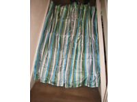 Pair of Multi-Coloured Striped Lined Curtains