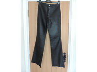 Ladies Italian size 8 Black Leather Trousers