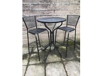 Black metal garden table and chair set