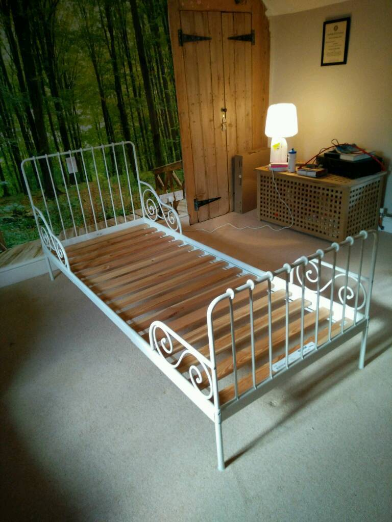 kids white metal bed frame ikea minnen extends up to full size single bed - Ikea Single Bed Frame