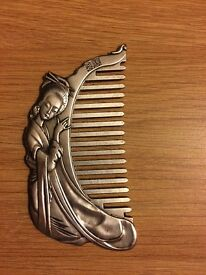 Antique Japanese silver alloy comb