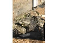 Reclaimed stone from railings wall