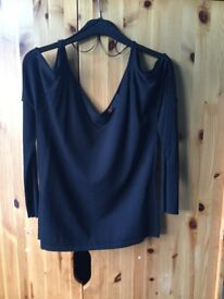 Gharani Strok ladies black evening jumper /top size m