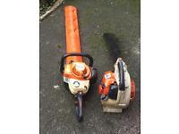 Stihl petrol hedge cutter and stihl blower