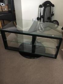 Ikea svind tv stand rotates swivels gloss black glass