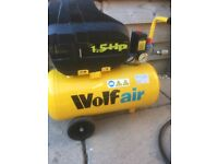Wolfair 25L 1.5hp compressor with tyre gauge