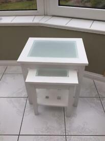 White Nest of Tables with Frosted Glass