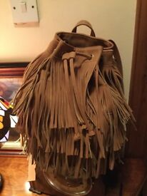 BRAND NEW CHIC TAN SUEDE FRINGED BAG-GREAT XMAS PRESENT!