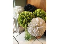Faux decorative flowers - green, black and white