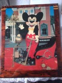 MICKEY MOUSE LARGE PICTURE WITH SMALL CLOCK IN CORNER EXCELLENT CONDITION