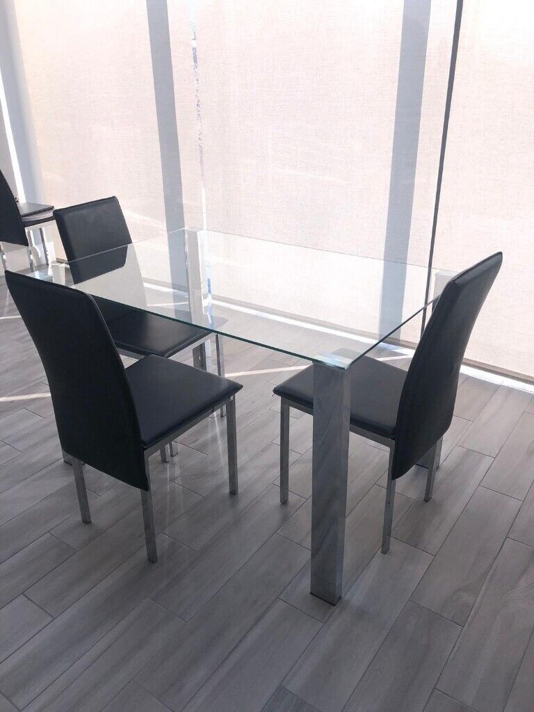 0d86c449ec3 Argos Home Fitz Clear Glass Table   Chairs - Black RRP £200