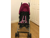 Mamas & Papas Buggy/Stroller, black with pink hood, excellent condition