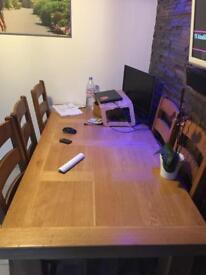 Solid oak table & 6 solid oak chairs