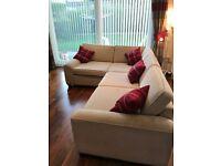 Corner sofa, cream, custom made
