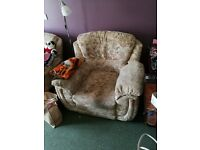 Used two seater sofa bed in good working but could use a clean up. And an electric reclining chair