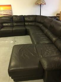 Large brown leather corner