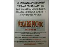 Dogs trust have 2 tickets for the Vicars Picnic Yalding music festival