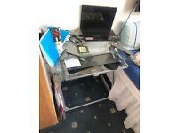 Silver Metal Glass desk with Keyboard platform