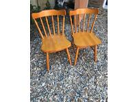 Set of pine wooden chairs