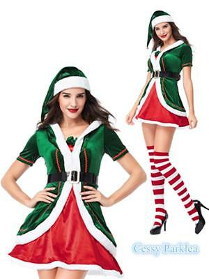 Little Santa Xmas Helper Christmas Elf  Adult Lady's Fancy Dress Costume Outfit