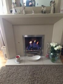 Cream resin fireplace and matching mirror