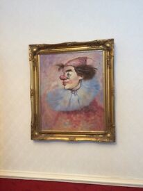 Clowns head oil on canvas framed picture oil painting