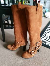 Tan suede buckle boots