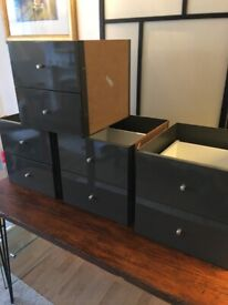 I can deliver - 4 sets of as new condition, High Gloss Grey IKEA Kallax 2xDrawers inserts