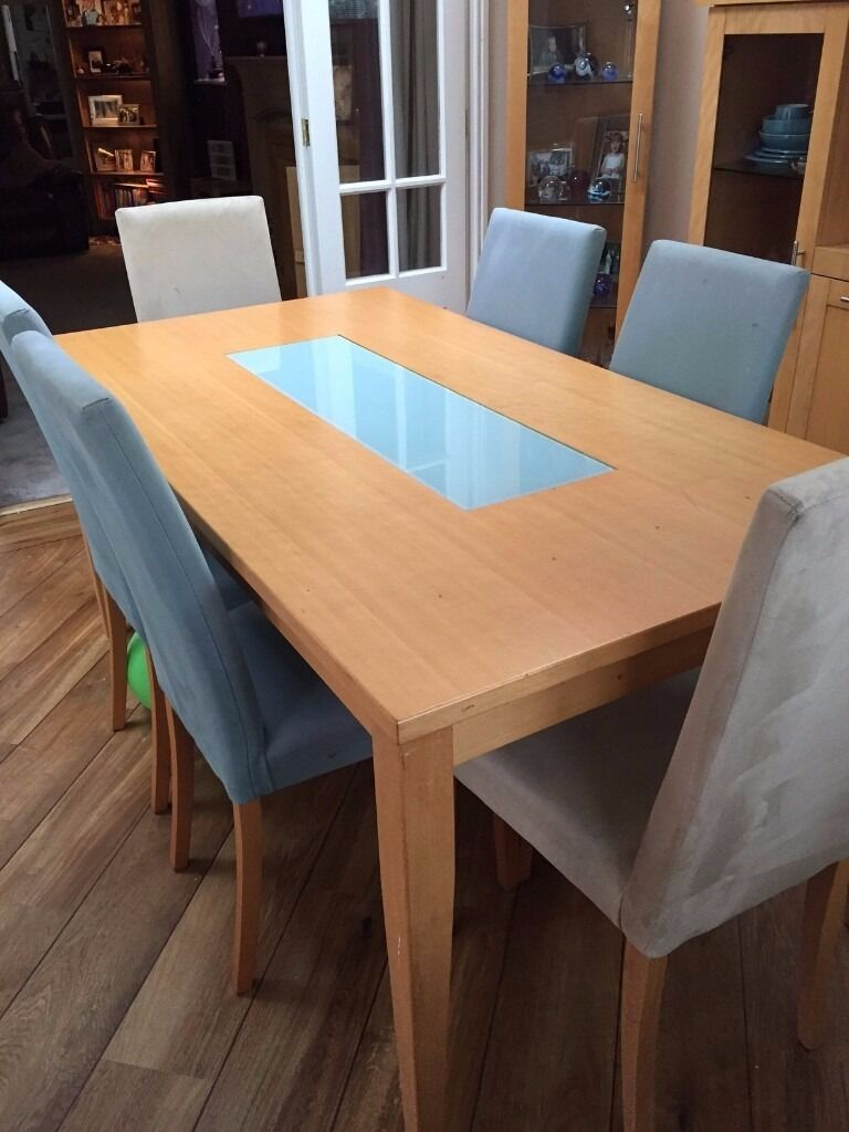 beech dining table and 6 chairs tall display cabinet and tal