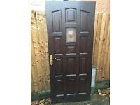 Solid Wood Front Door & Handle & Hinges & Deadlock