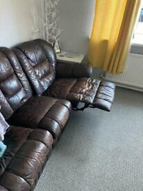 3 seater reclining leather sofa