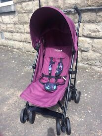 sale * CLEARANCE * easy travel very light stable purple CUGGLO UMBRELLA PRAM easy to fold and set up