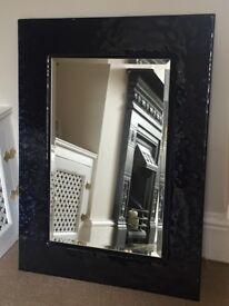 Beautiful Blue: black glass mirror