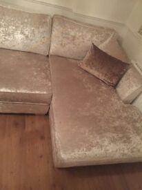 Oyster crush velvet Left corner sofa and armchair