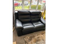 2 seater and 3 seater electric leather sofa in black