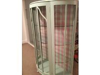 Beautiful upcycled vintage/shabby chic bow fronted display cabinet with Cath Kidston backing