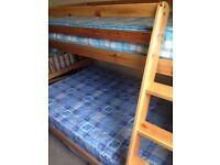 Triple Bunk Bed 3ft & 4ft Wooden Pine & Mattress