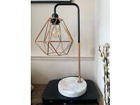 Rose Gold & Black Marble Base Table Lamp