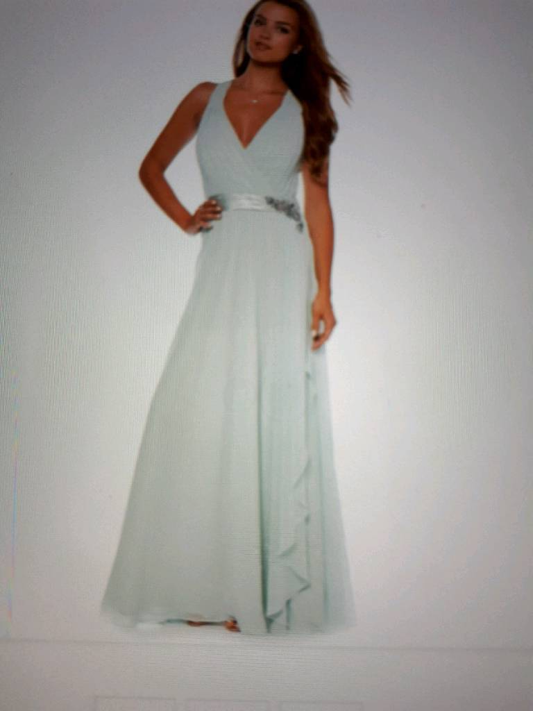Size 16 (14-16) pale green dress bridesmaid prom ball gown ...