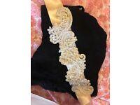 Light gold lace sash wedding belt