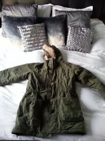 Mens green khaki Timberland coat size large